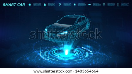Smart car isometric banner with icons and text. Abstract project of a smart or intelligent car in the form of a starry sky or space. X-ray hologram in HUD style. 3D Electric machine. IOT auto. Vector