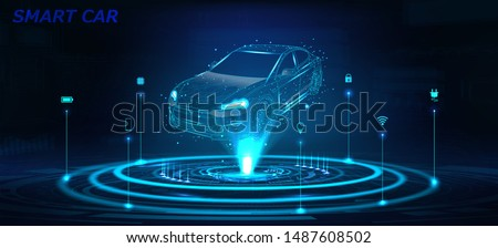 Smart car isometric hologram, in HUD style. Electric auto. Hologram car in low poly style, wireframe in line in the form of a starry sky or space. Smart auto. Virtual graphical interface HUD. Vector