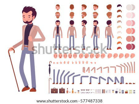 Smart casual male character creation set. Full length, different views, emotions, gestures, isolated against white background. Build your own design. Cartoon flat-style infographic illustration