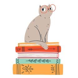 Smart cat in glasses, vector illustration