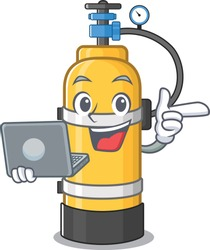 Smart character of oxygen cylinder working with laptop