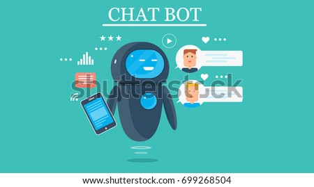 Smart Chat bot, technology vector illustration