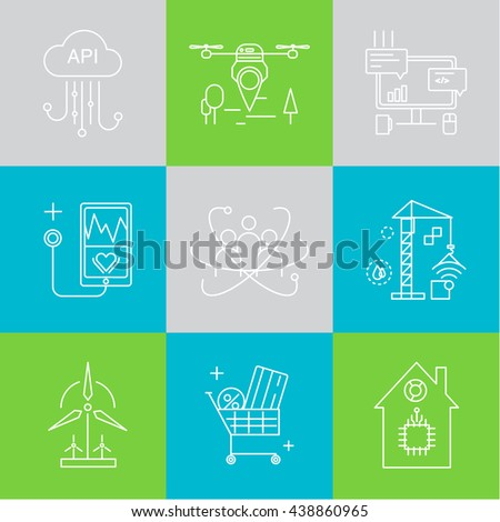 Smart city and internet of things line icons. Future technology symbols for banner, template, website. Green home and technologies.