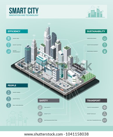 Smart city, augmented reality and technology concept: metropolis with skyscrapers and people on a smartphone, vector isometric infographic