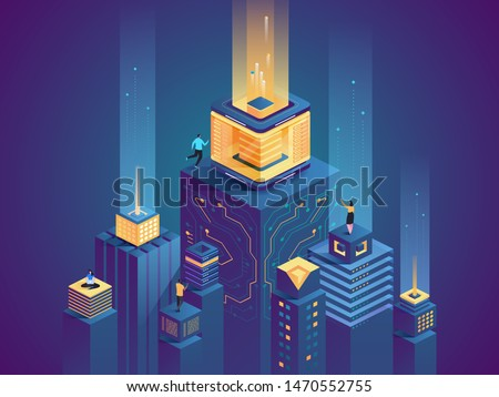 Smart city buildings flat isometric illustration. Men and women working in cyberspace 3D cartoon characters. Futuristic technology, server farm vector concept. Digital network, virtual database