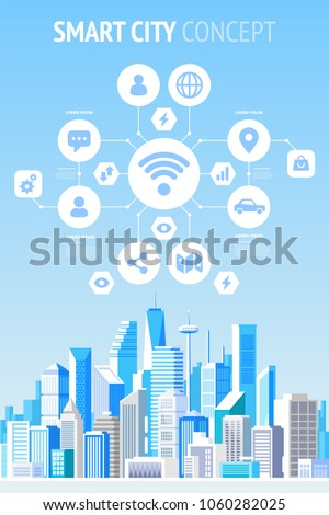 Smart city concept infographics. Vector illustration