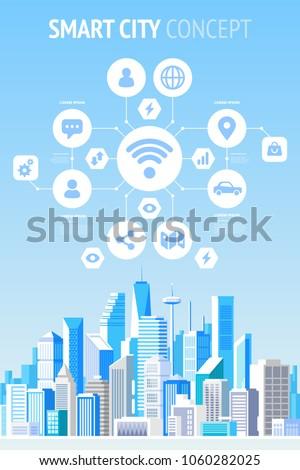 Smart city concept infographics. Vector illustration