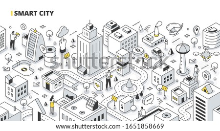 Smart city concept. People collect data from urban activity and use it in pair with communication and IoT technology to increase city efficiency. Outline isometric illustration