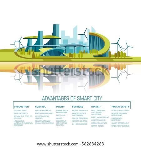 smart city flat cityscape