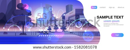 smart city 5G online communication network wireless systems connection concept fifth innovative generation of global high speed internet modern cityscape background flat horizontal copy space vector