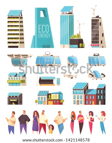 Smart city housing business center facilities citizens smartphone notifications system service transportation technology flat set vector illustration