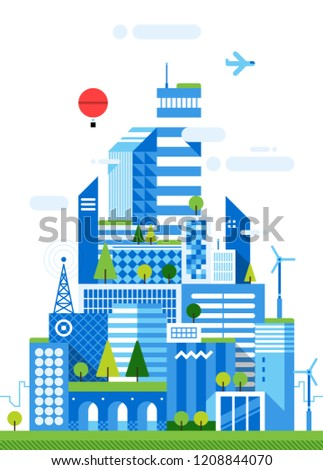 Smart city illustration. Futuristic urban background with skyscrapers and office buildings. Modern vector flat style.