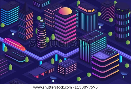 Smart city in futuristic style, city of future. Business center, housing urban buildings with skyscrapers, modern urban transport skyway, data transmission technologies throughout the city.