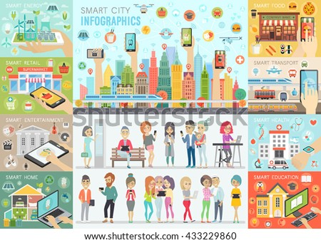 smart city infographic set with
