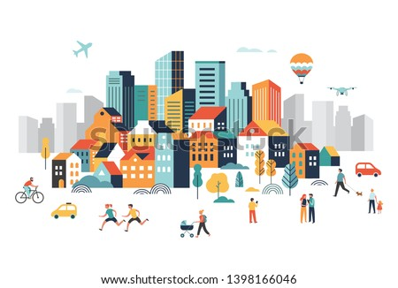 Smart city, landscape city centre with many building, airplane is flying in the sky and people walking, running in park. Vector illustration Foto stock ©