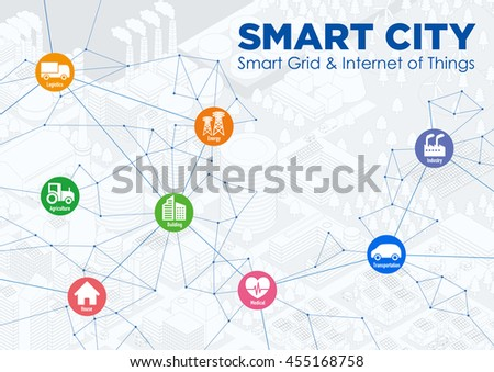 smart city line drawing