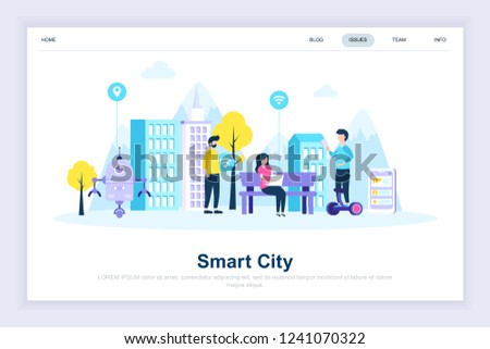 Smart city modern flat design concept. Architecture and people concept. Landing page template. Conceptual flat vector illustration for web page, website and mobile website. #1241070322
