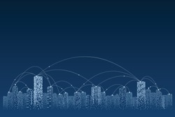 Smart city of communication. Social network connections. Business big data technology concept.