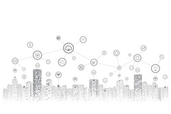 Smart city of communication. Social network connections. Cloud computing technology. Business big data concept.