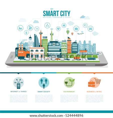 Smart city on a digital tablet or smartphone: smart services, apps, networks and augmented reality concept