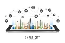 Smart city on a digital tablet or smartphone: with smart services and icons, internet of things, networks, commercial, business and augmented reality concept vector design