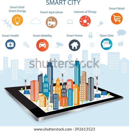 Smart city on a digital touch screen tablet with different icon and elements and environmental care.Modern city design with  future technology for living. Controlling your home appliances with tablet.