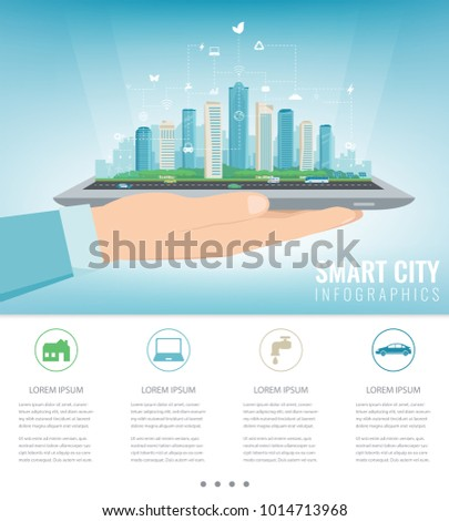Smart city on a digital touch screen tablet with different icon. City with infographic elements. Vector illustration