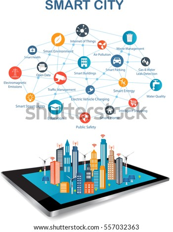 Smart city on a digital touch screen tablet with different icon. Smart City and wireless communication network.Controlling your home appliances with tablet.
