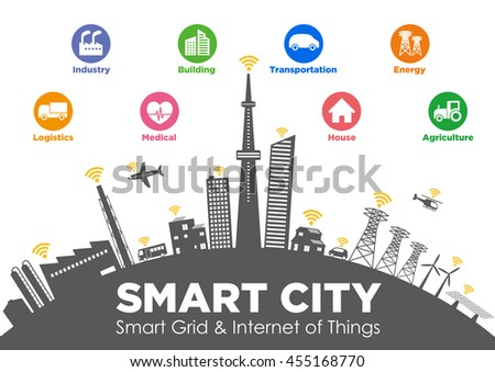 smart city on global ground with various technological icons, futuristic cityscape and modern lifestyle, smart gird, IoT(Internet of Things), ICT(Information Communication Technology)
