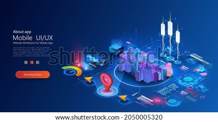 Smart city or intelligent building concept. Residential urban buildings for isometric innovation flat design. Smart city vector illustration of town with digital communication technology