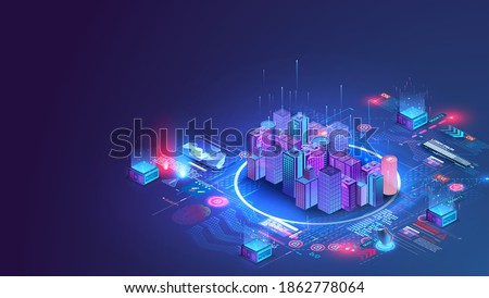 Smart city or intelligent building isometric vector concept. Building automation with computer networking illustration. Data Center Blockchain Technology. Smart city and communication network concept.