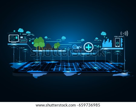 Smart city technology communication concept background. vector illustration.