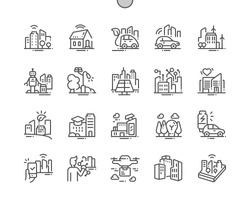 Smart city technology Well-crafted Pixel Perfect Vector Thin Line Icons 30 2x Grid for Web Graphics and Apps. Simple Minimal Pictogram