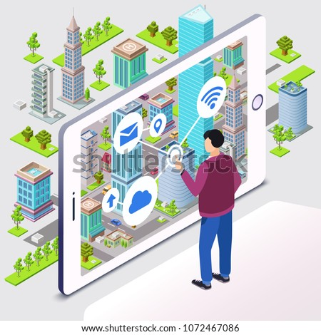 Smart city vector illustration. Man user and smartphone withresidential smart city infrastructure with internet cloud connection and technology communication. Isometric cartoon flat design