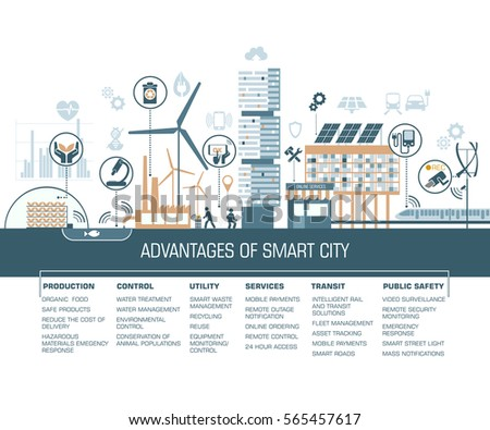 smart city vector illustration with different icons/ solving ecological problems/ colorful hand holding eraser/ eco- info graphics