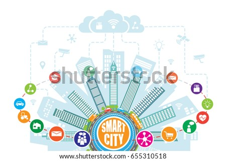Smart city with advanced intelligent services, and augmented reality, social networks, Internet of things. Technical background, icons