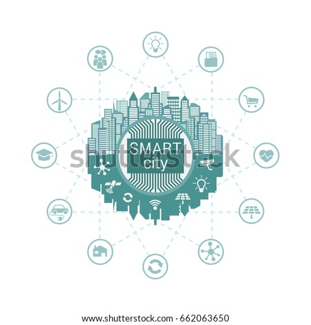 Smart city with advanced smart services, social networking, the Internet of things, connected to the Central server
