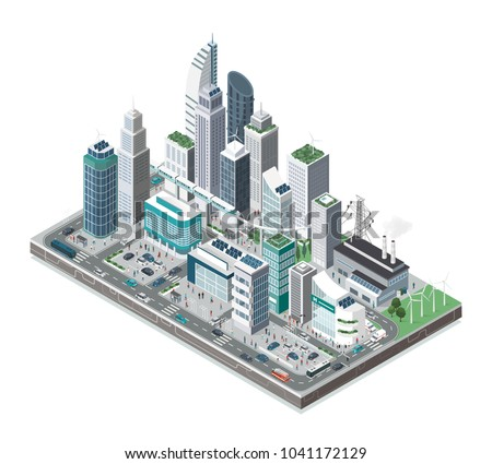 Smart city with skyscrapers, people and transport on white background, innovation and urban technology concept