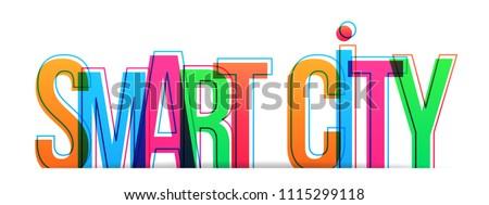 Smart city word concept. Vector illustration.