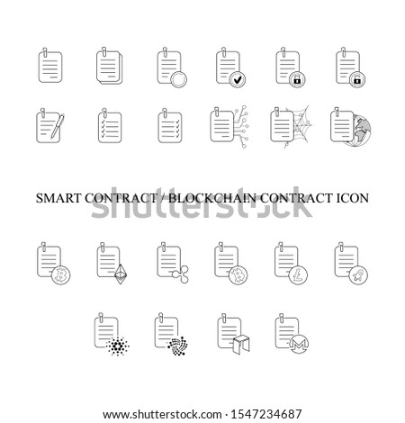 Smart contract and blockchain contract icons with active cryptocurrency details for a business report. Vector illustration. Business and bitcoin crypto concept