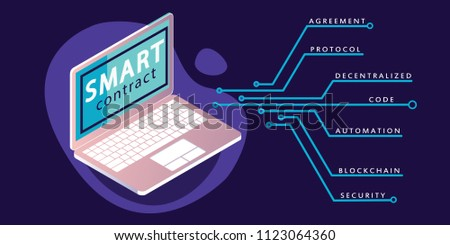 Smart contract concept banner in neon and purple colors. Vector illustration