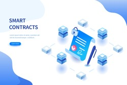 Smart contract concept. Can use for web banner, infographics, hero images. Flat isometric vector illustration isolated on white background.