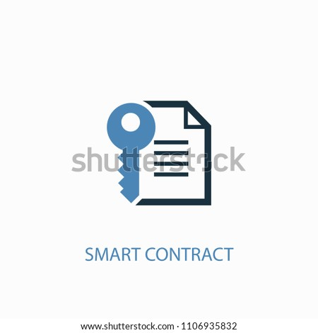 Smart Contract concept 2 colored icon. Simple blue element illustration. Smart Contract concept symbol design from Cryptocurrency set. Can be used for web and mobile UI/UX
