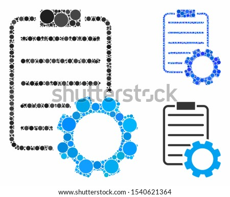 Smart contract gear composition of circle elements in various sizes and color tones, based on smart contract gear icon. Vector circle elements are organized into blue illustration.