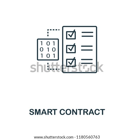 Smart Contract outline icon. Monochrome style design from crypto currency collection. UI. Pixel perfect simple pictogram outline smart contract icon. Web design, apps, software, print usage.