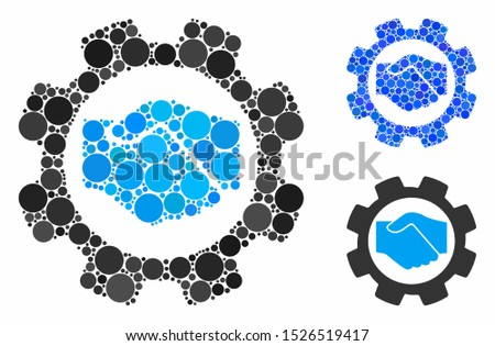 Smart contract setup gear mosaic for smart contract setup gear icon of circle elements in various sizes and color tones. Vector circle elements are grouped into blue mosaic.
