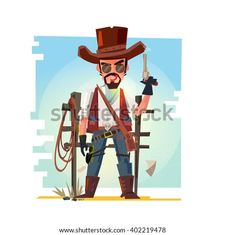 smart cowboy holding his gun