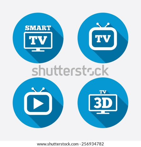 Smart 3D TV mode icon. Widescreen symbol. Retro television and TV table signs. Circle concept web buttons. Vector