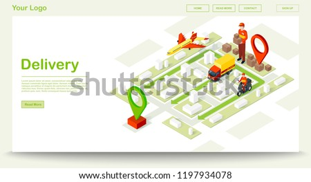 Smart delivery isometric website template. Online order tracker. Courier, truck, aircraft shipping methods. Express delivery infographic. E-navigation. Webpage, app design. Isolated vector