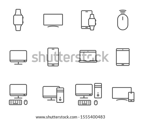 smart devices outline vector icons set isolated on white background. smart devices technology flat icons for web, mobile and ui design.
